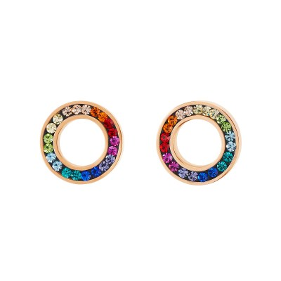 Ohrstecker Ring Kristall Pavé multicolor von COEUR DE LION