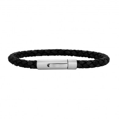Armband Braided Leather Slim schwarz von SON of NOA