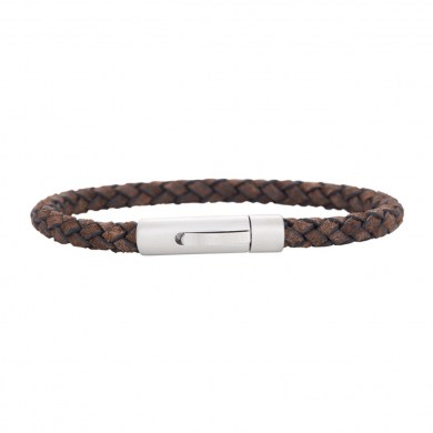 Armband Braided Leather Slim dunkelbraun von SON of NOA