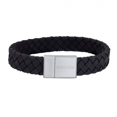 Armband Braided Leather schwarz von SON of NOA