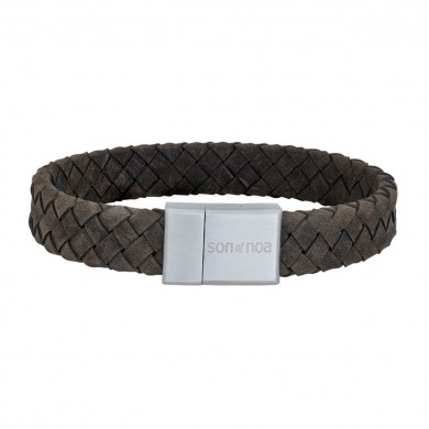 Armband Braided Leather grau von SON of NOA