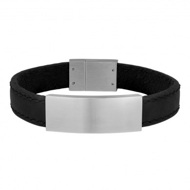 Armband Leather & Steel Black von SON of NOA