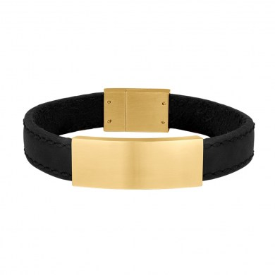 Armband Leather & Gold Black von SON of NOA