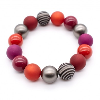 Armband HarlekinRed Color Polaris-Perlen bis 12mm